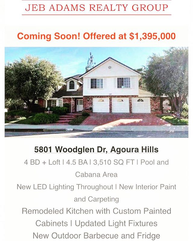 COMING SOON! 🚨 Beautiful one of a kind Morrison Ranch home in Agoura Hills! 🏡💯 Schedule your appointment now!  Call/txt/ Email- jeb@jebadams.com  818-681-4179 • • • • • • #luxuryhomes #home #luxury #morrisonranch #agourahills #realestate #realestateagent #remodel #upgraded #view #luxurylifestyle #prime #sunset #beauty #pool #gourmetkitchen #backyard #westlake #calabasas