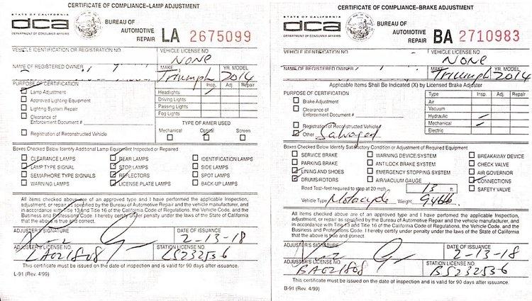 Ca Dmv Brake And Light Inspection Form Americanwarmoms Org