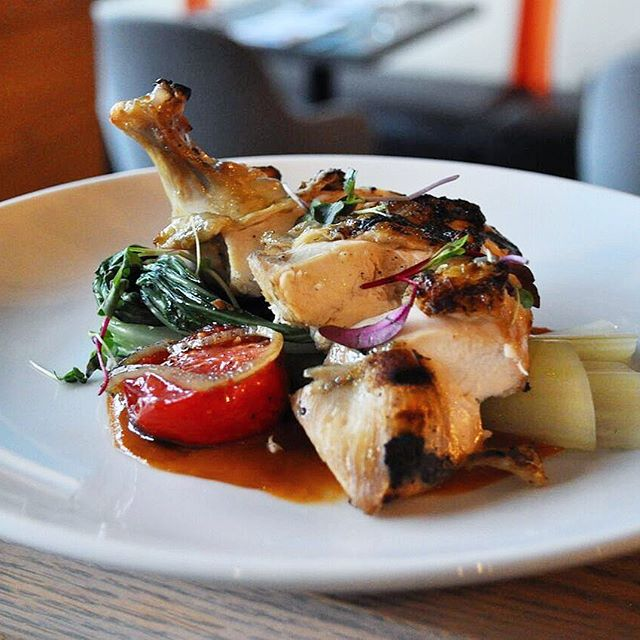 Keeping things #healthyish with our winter chicken dish - complete with confit tomatoes, smokey tomato sauce, & grilled bok choy. 🍗🍅🥬 . . #noonaduluth #parsonsalley #january #mondaymotivation #chicken #bokchoy #confittomatoes