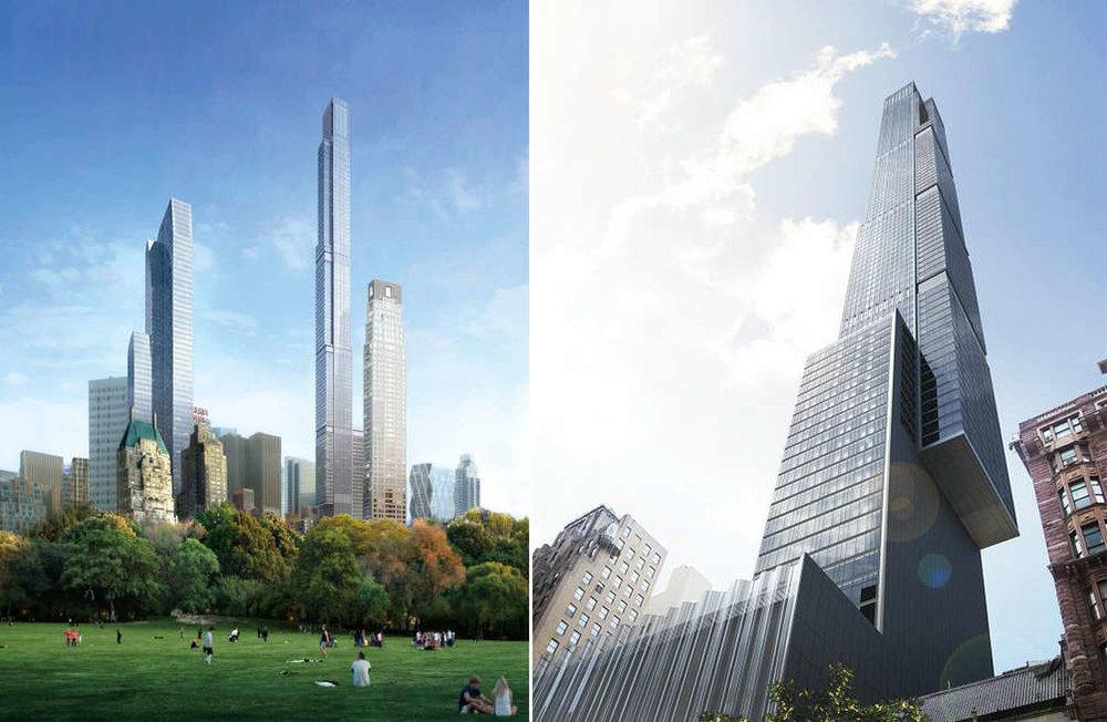 """中央公园大厦 - 受纽约顶级地产开发商Extell的邀请,Calvin来到中央公园大厦的Sales Gallery为客户预览新楼盘""""Central Park Tower""""。此楼盘建成后将成为纽约的新楼王,取代432 Park成为西半球最高住宅楼。它坐落在曼哈顿""""亿万富豪街""""(也称57街)上,该项目预定于2019年12月竣工。建成后楼高达1550英尺。大楼将有5万平方英尺的大楼设施和服务。179个住宅,每一个住宅都经过精心设计来最大化房屋内所能看到的景观和光线。大气慷慨的尺寸,将这座楼里的豪宅非常适合于广阔的起居空间和大小聚会招待。这里是纽约最昂贵的地段,汇聚大量来自全世界的高净值人士。这座大楼也是汇聚了全世界最顶尖的建筑家和室内设计家经过10年的计划和打造而酝酿而成。因为该楼盘不允许在网络社交媒体上公开传布售楼中心真实的样板间图片,所以只能展示目前网络上开发商已经公开的一些Rendering聚集起来给大家看个大概。Central Park Tower也有人称为Nordstrom Tower,因为它的底部是Nordstrom百货公司的旗舰店。目前的户型有从2卧丶3卧丶4卧,到5卧的Full Floor Residence,价格上2卧从$650万起,3卧从$950万起,4卧$3250万起,5卧$6275万起。当你真正来看过之后你就会理解,""""This is Central Park Tower. This is Life at the Top."""""""