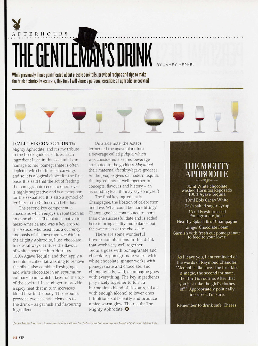 VIP  : Monthly column called The Gentleman's Drink