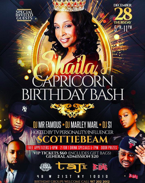 CAPRICORNS STAND UP!!It's a Capricorn Birthday Bash 12/28/2017 5p-11pFree Appetizers 5-6pm - 2 for 1 Drink Specials 5-7pm$60 VIP Ticket includes gift bag - $20 General AdmissionDJ Marley Marl - DJ S1 - DJ Mr Famous -