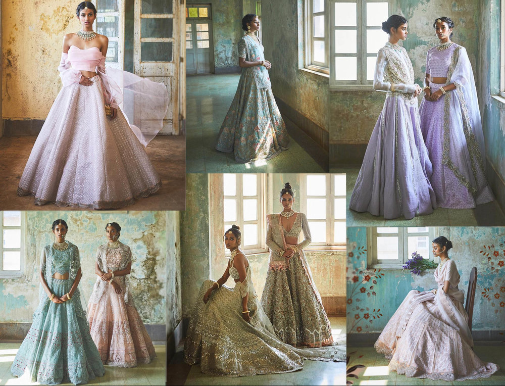 Jade byMonica and Karishma - Alekhya is their dazzling collection, which is inspired by the Taj Mahal. The outfits have lightweight linens and breezy silks to create bridal wear that's comfortable and captivating.