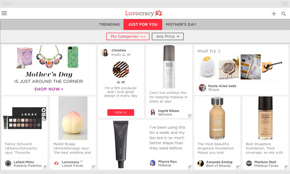 Luvocracy Website Product with Marketing Placement