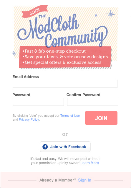 ModCloth Community Registration