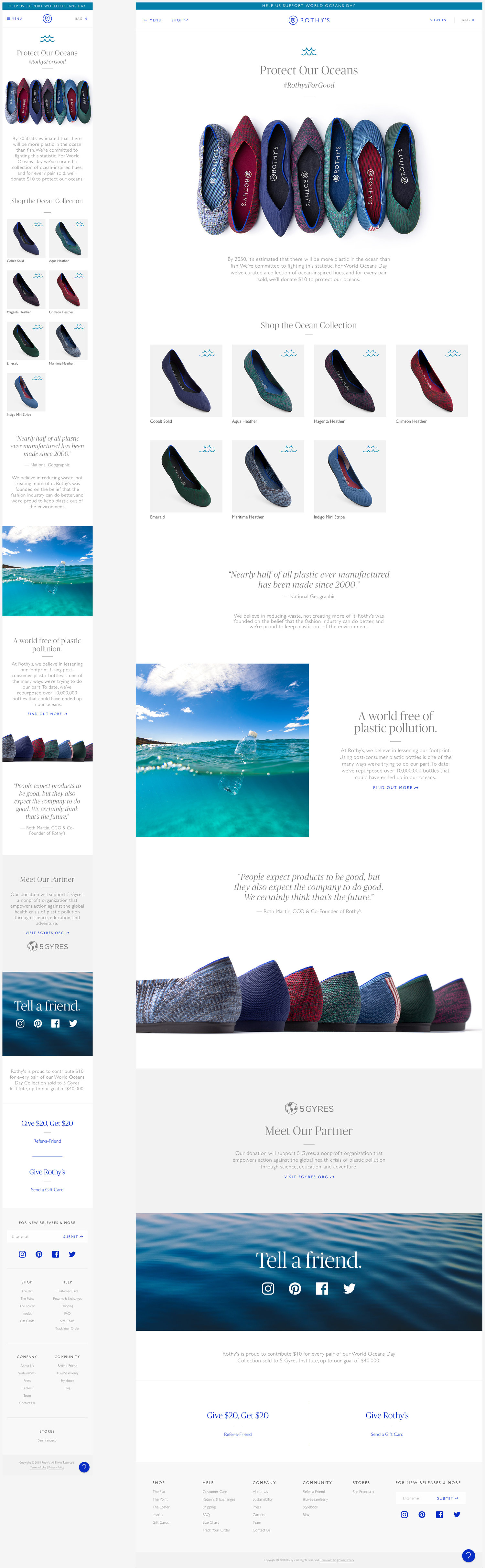 Rothy's World Oceans Day Landing Page
