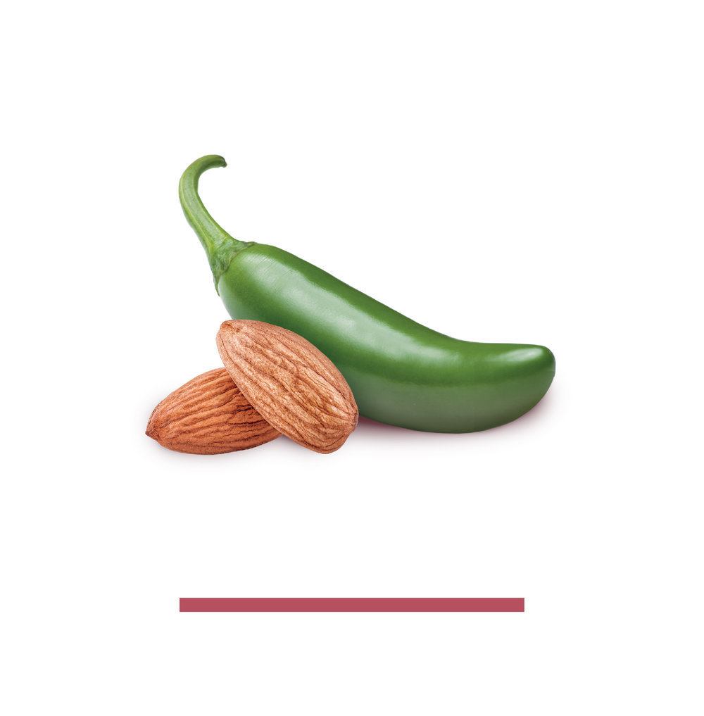 SMOKY SERRANO - ALMONDS, SMOKY SEA SALT, SERRANO PEPPERSWood Smoked Sea Salt instead of artificial liquid smoky loaded with additives. We use real serrano peppers to bring the heat.