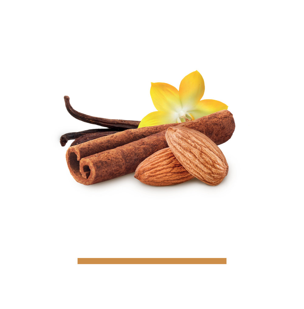CINNAmmon vanilla - ALMONDS, CANE SUGAR, SEA SALT, CINNAMON, VANILLANo sticky mess here. Just a sweat note to complement whole cinnamon stick and real vanilla beans.