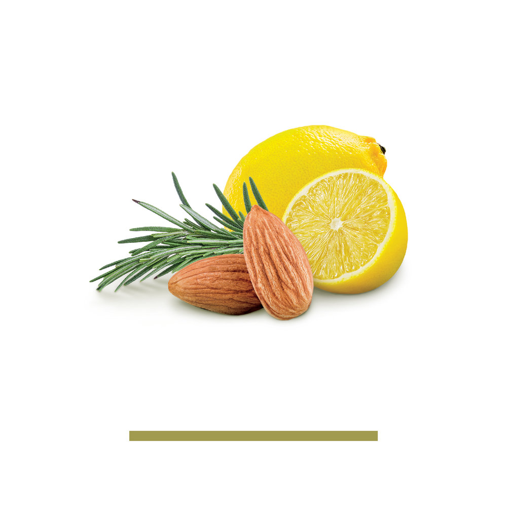 lemon rosemary - ALMONDS, SEA SALT, LEMON, ROSEMARYA balance of that tart citrus note from an actual lemon and fresh herb flavor that you get from each rosemary sprig, not some essence concocted to cut corners.