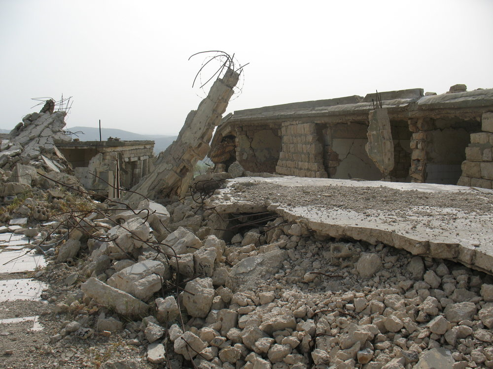 The ruins of Khiam prison camp in South Lebanon
