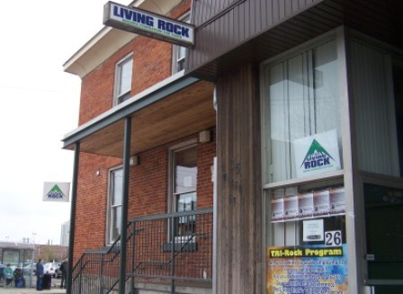 Living Rock Youth Ministries  Living Rock is a faith-based outreach to at-risk youth in Hamilton's downtown core.
