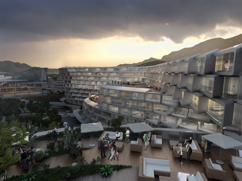 Zaha Hadid Architects- Mexico Housing Project - what America could have looked like if Eli Broad hired Zaha earlier. Social Zones, Parks, Walkways, Cafes