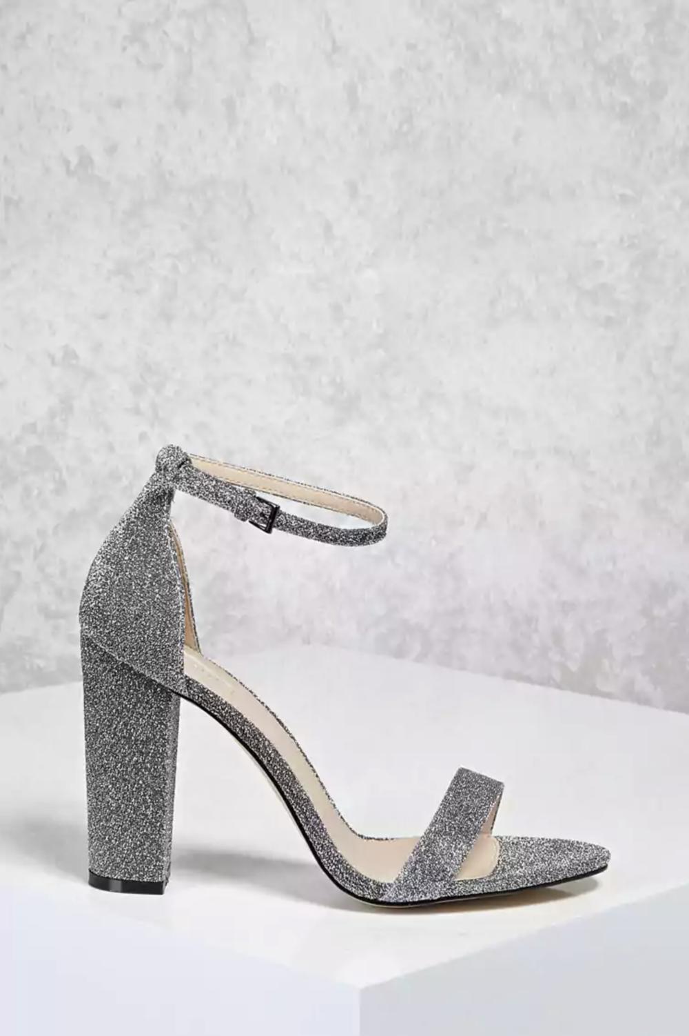 Glitter Ankle-Strap Heels