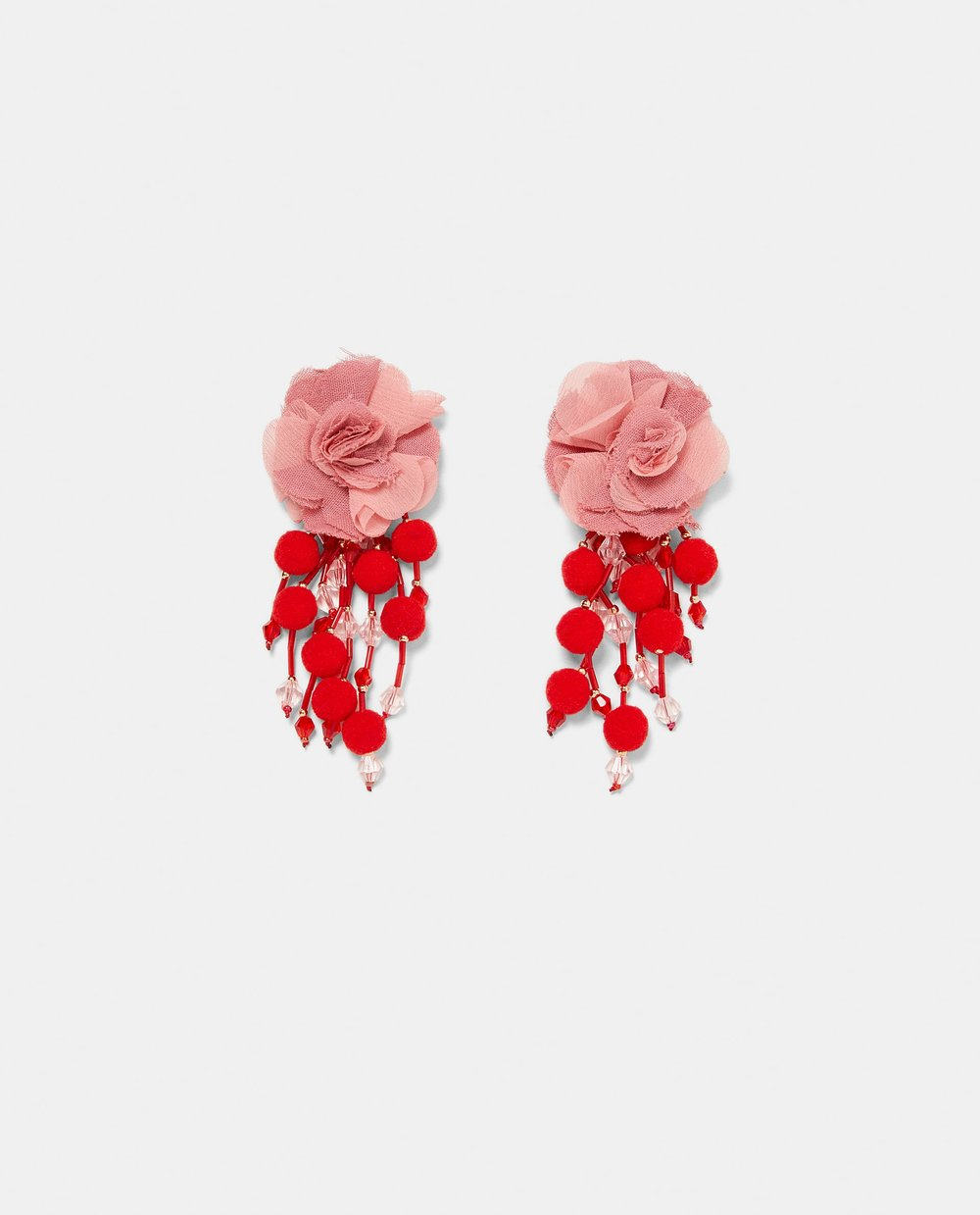 EARRINGS WITH FABRIC FLOWERS