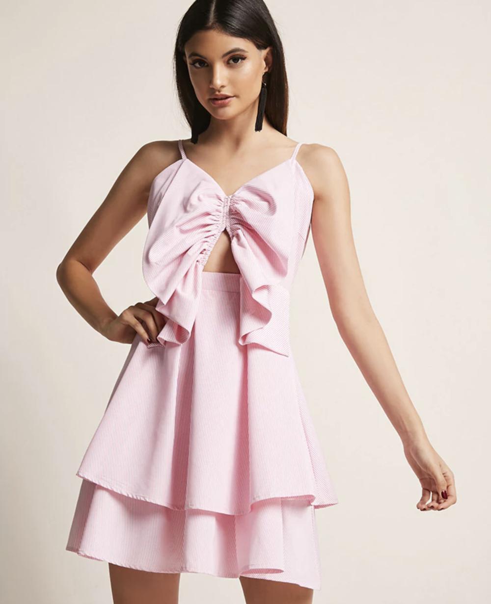 Pinstripe Cutout Tiered Dress