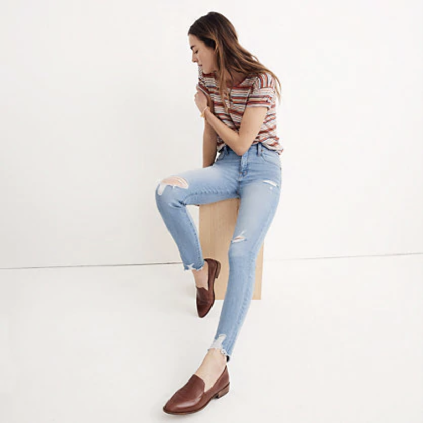 "9"" high-rise skinny jeans in ontario wash: distressed-hem edition"