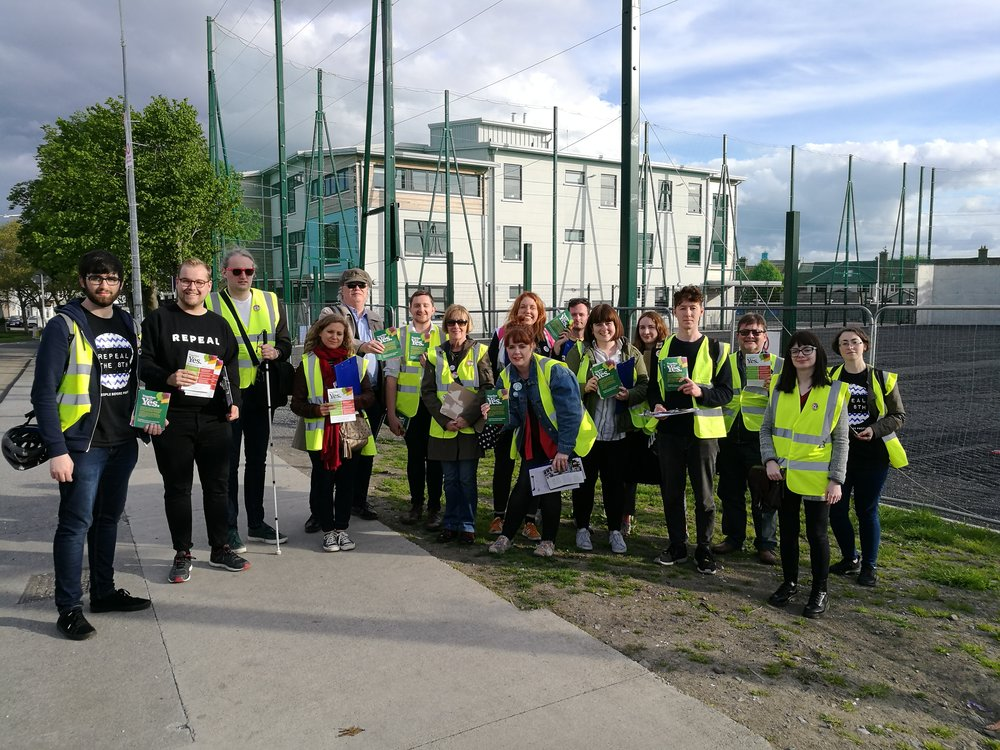 Me leading a huge group of canvassers in Cabra