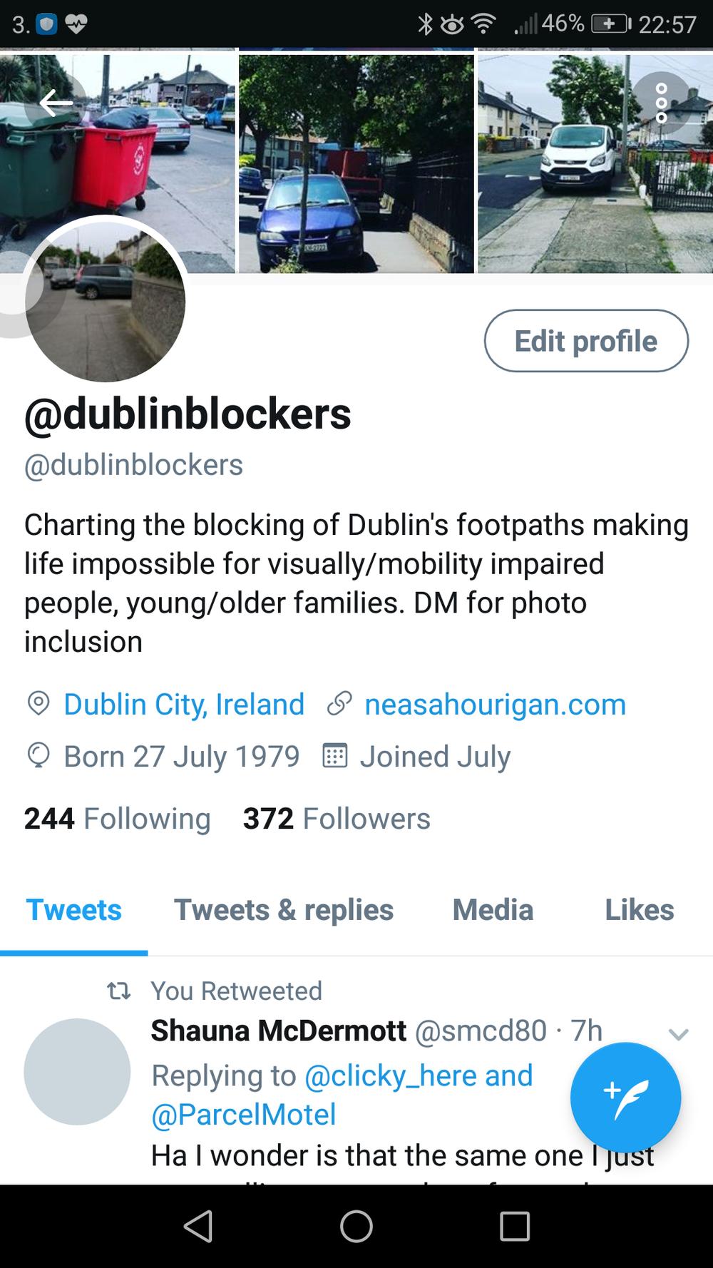 Twitter page of Dublin Blockers