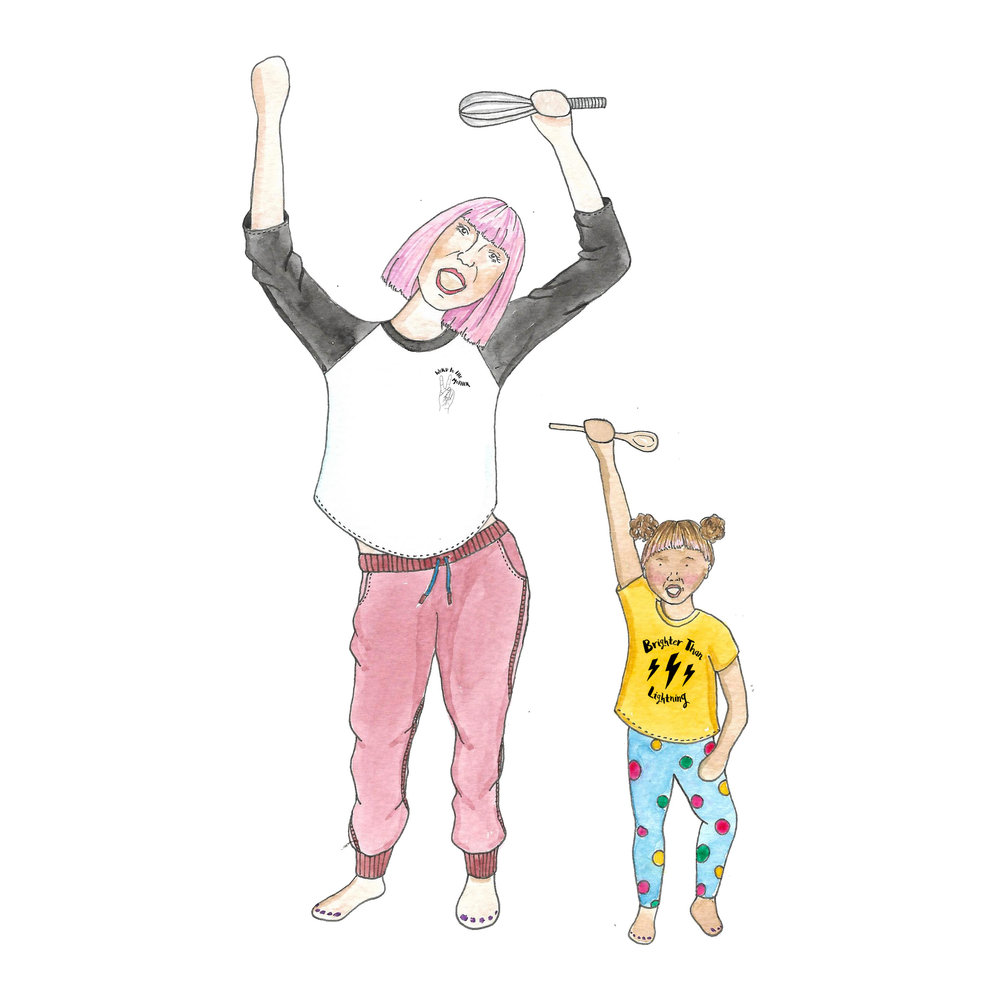Mum and kid dancing in the kitchen by Awesome Mama Illustration