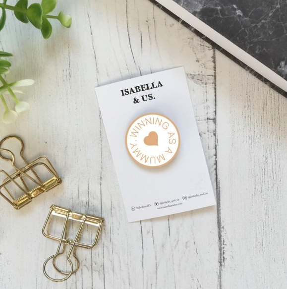 isabella and us enamel pin badge