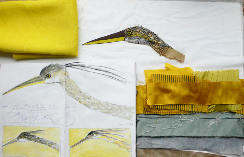 Drawing, fabrics and sampling for the herons head .