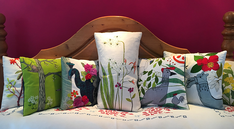 Hand made one off applique and stitch cushions available at the Whitworth Art Gallery  Pop Up Shop Manchester from tuesday  .Individually priced from £60