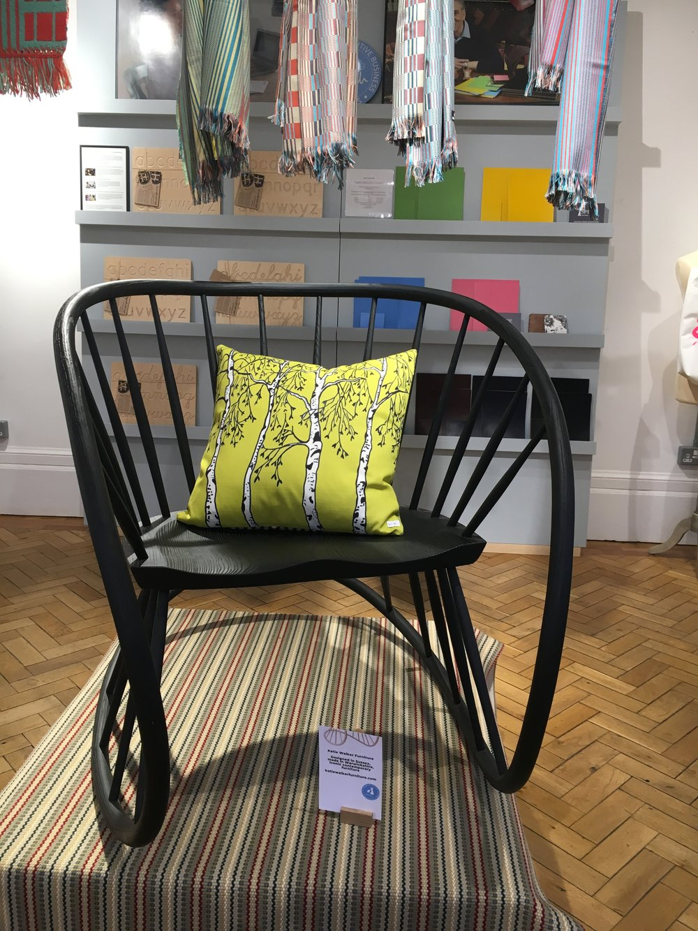 My Silver Birch cushion on Katie Walker 's beautiful rocker .