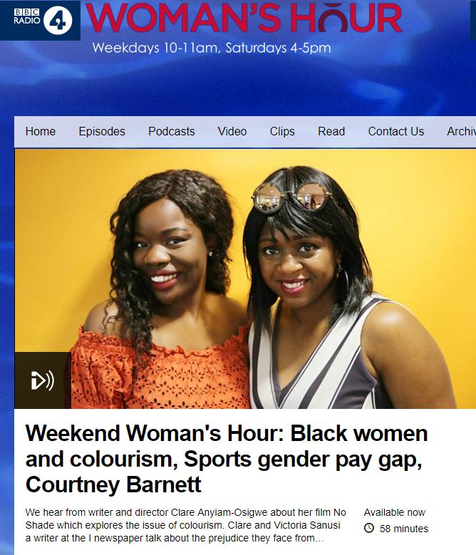 BBC Woman's Hour - Colourism - June 2018