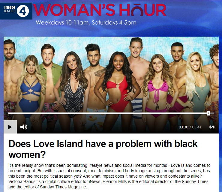 BBC Woman's hour -  Love Island  - July 2018