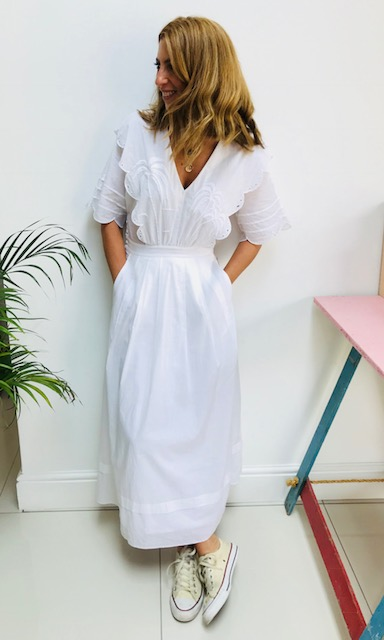 White dress: Was £89 now £45.50 (in store)  &OTHERSTORIES     Lovely fabric True to size  100% cotton