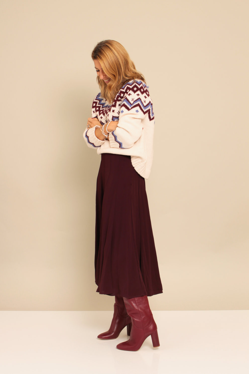 Jumper: £42  Topshop  Surprisingly soft  Love the colours  Skirt: £89.95  Massimo Dutti