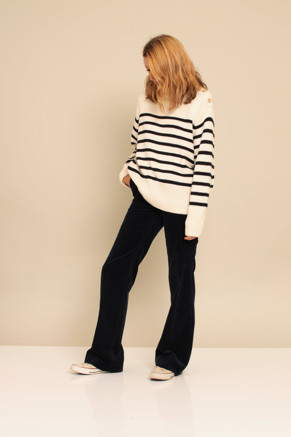 Jumper: £39.99  Zara  The perfect weekend sweater Lovely button detail on the shoulder  Trousers: £79.95  Massimo Dutti
