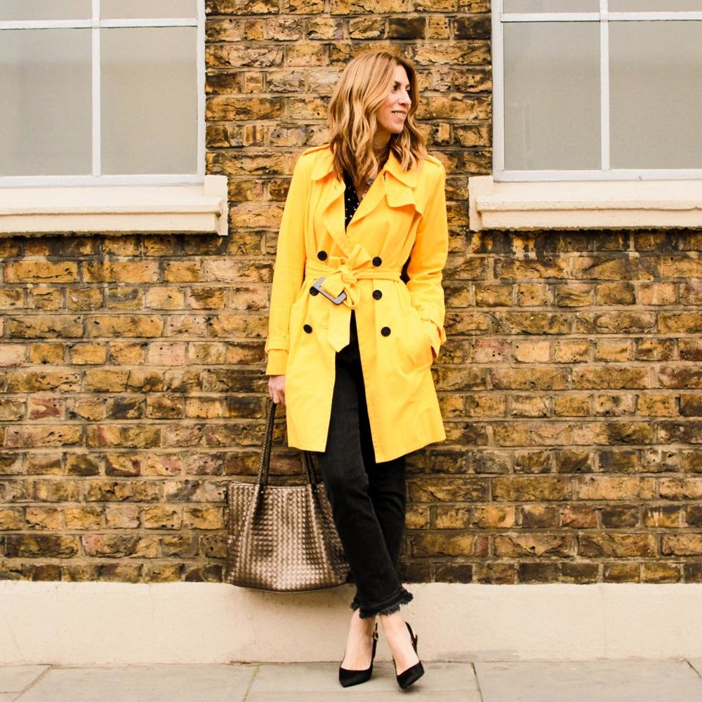 Top- andotherstories £16 Jeans - Rag and Bone £48 Trench - Sonia By Sonia Rykiel £95 Shoes- Kate Spade £50  Bag - Franchetti Bond £29