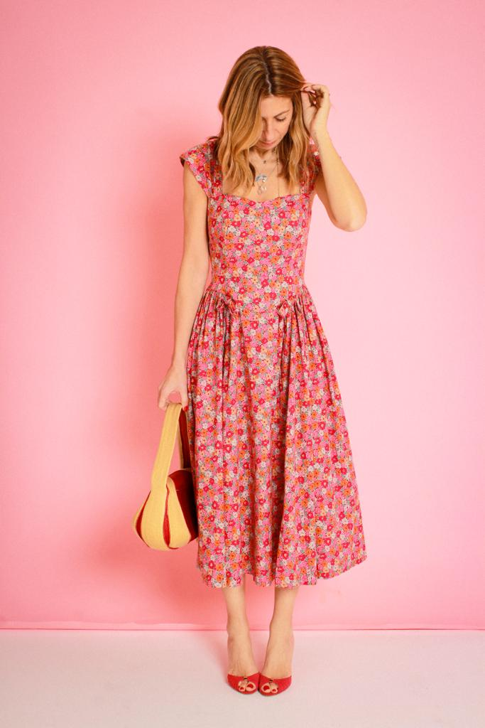 Dress - Laura Ashley £20  Shoes - LK Bennett £35 Bag- Gabreila Ligenza £110