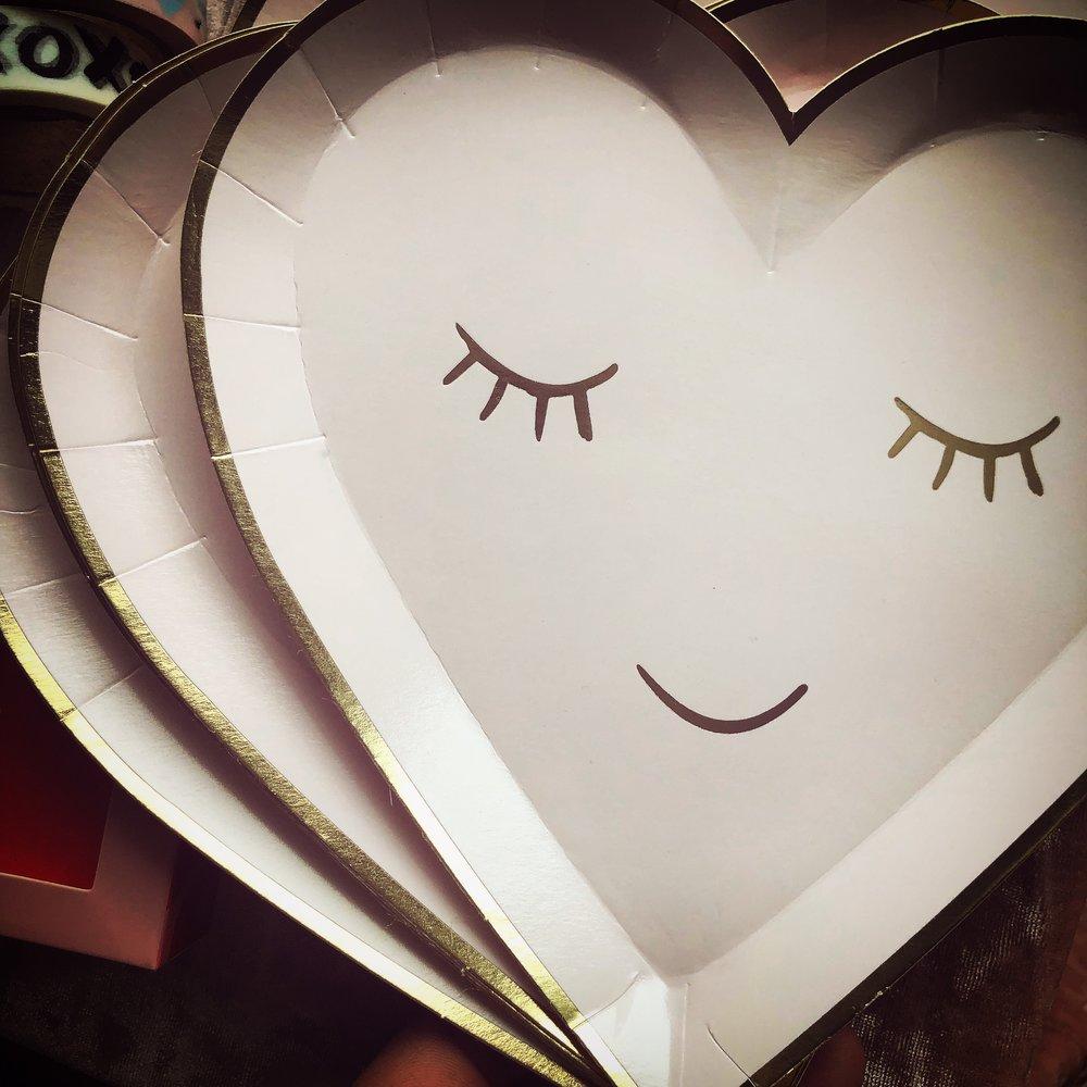 Ok, I don't care if I'm 32 or 72, I'm always going to buy Meri Meri! [Blushing Hearts plates, 8-pack, $5.50, purchased at Broadway Paper -  buy directly from Meri Meri here! ]