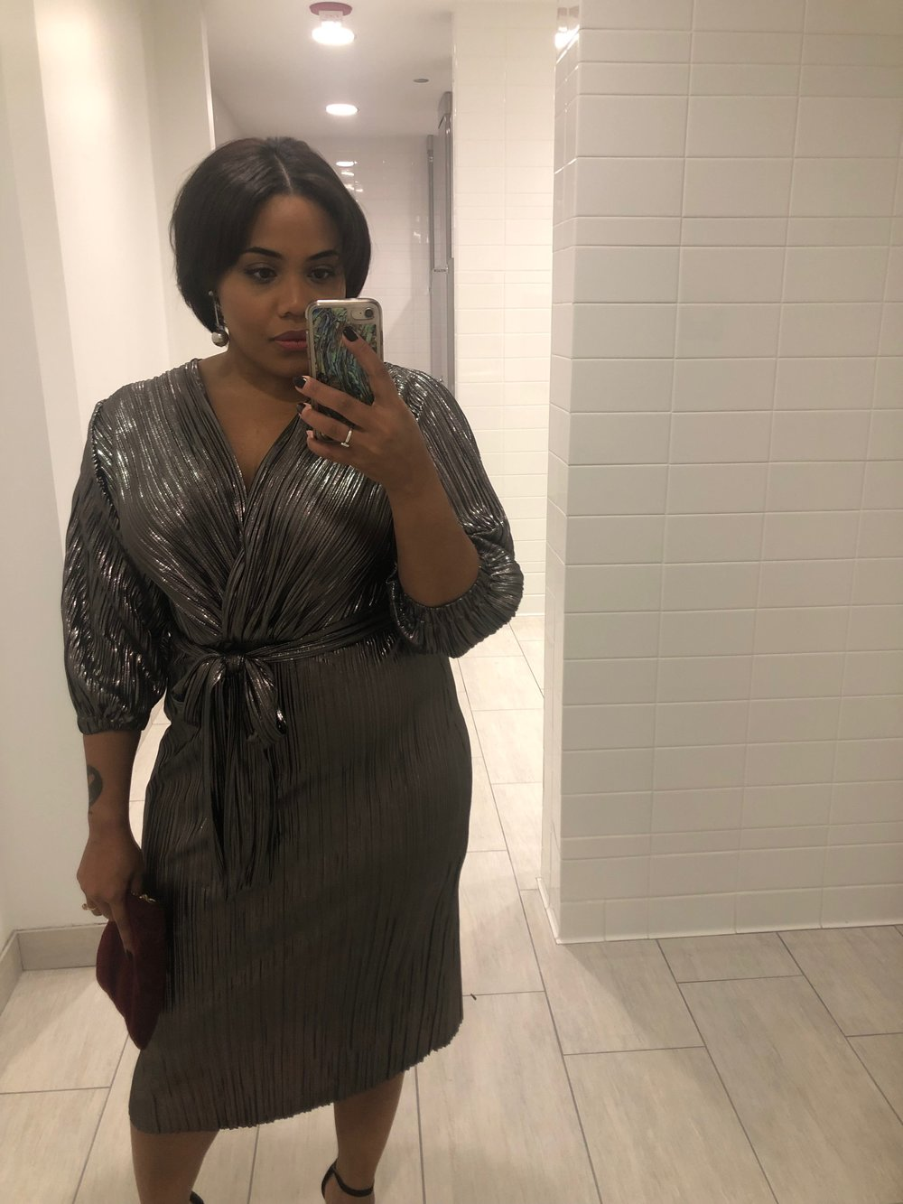 …like this metallic number from  Zara  (or this  similar dress from Target ) that I wore to my fiance's company holiday party 2 weeks ago - originally purchased for $70, now on sale for $45.99.