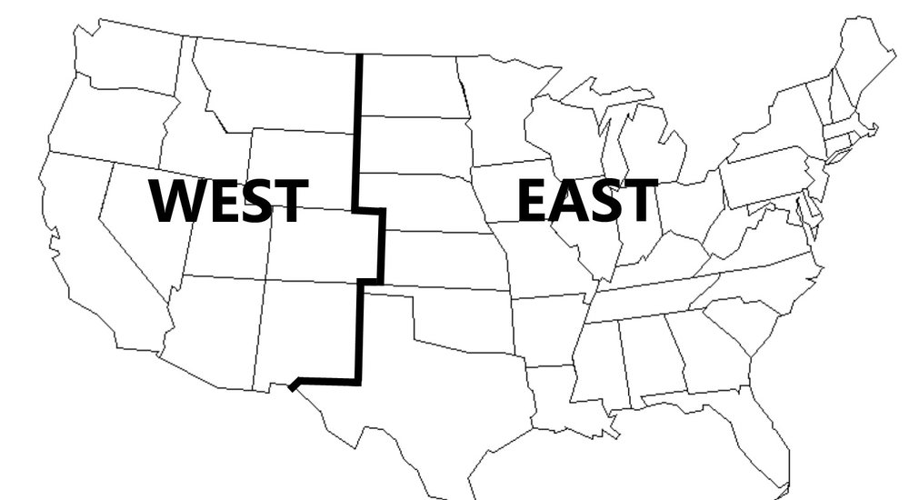 "Shipping map showing ""east"" and ""west"" rate zones"