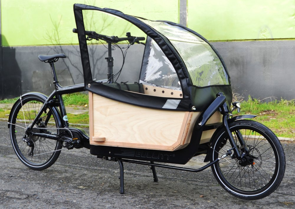 Bullitt Cargo Bike Accessories - Boxes, Rain Canopies, Billboards, and Bags