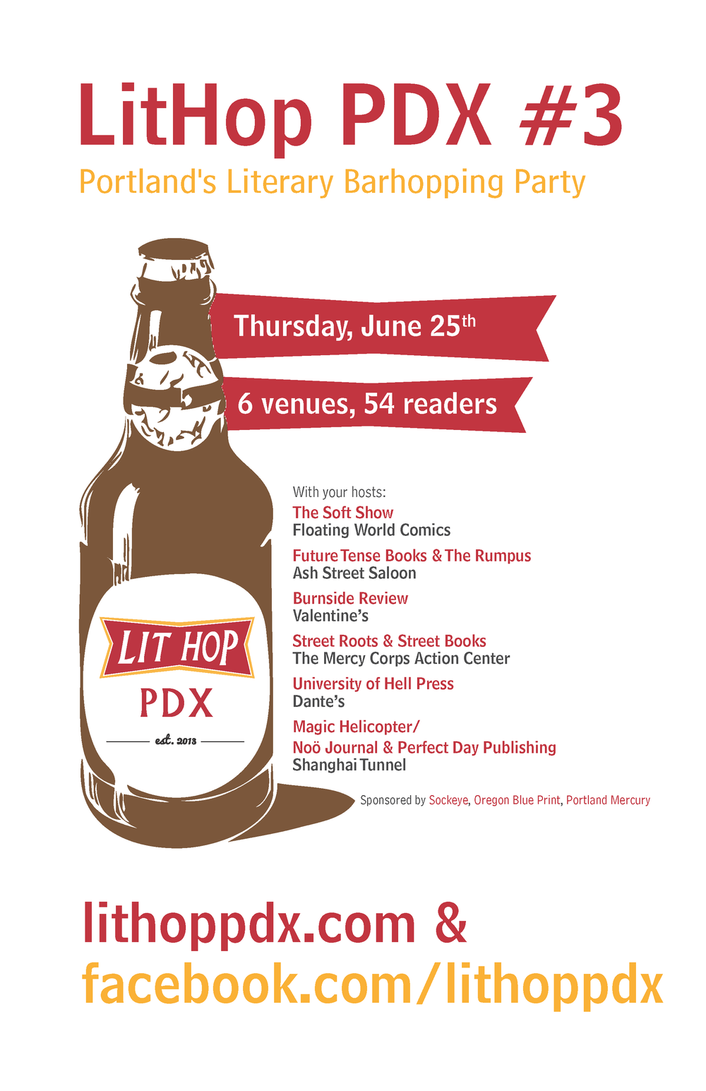 Poster for third annual LitHop PDX