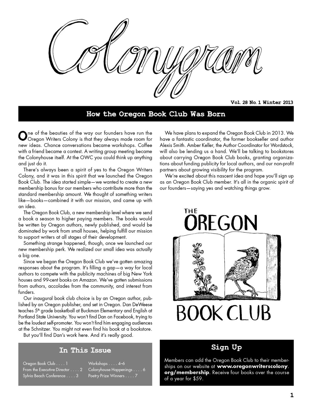 Newsletter sample for The Colonygram of the Oregon Writers' Colony