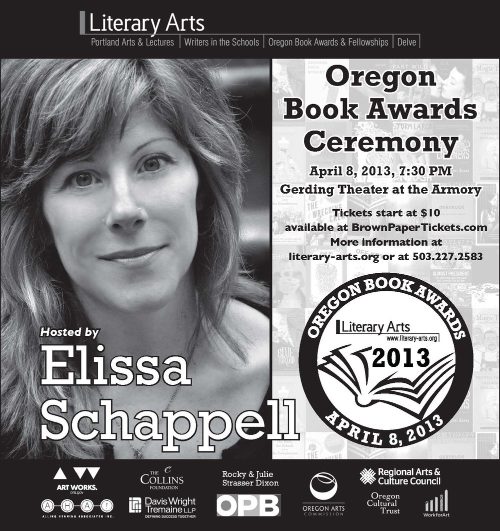 Advertisement for the 2013 Oregon Book Awards that appeared in the Willamette Week