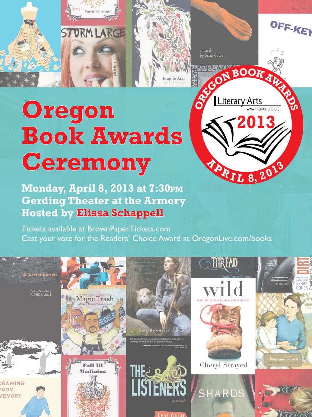 Poster for the 2013 Oregon Book Awards