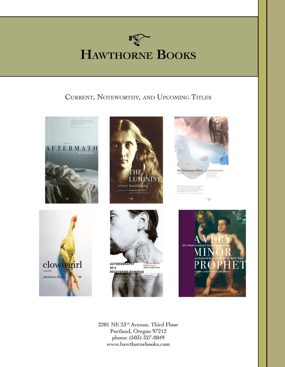 Catalog of current, noteworthy, and upcoming titles for Hawthorne Books (2011)