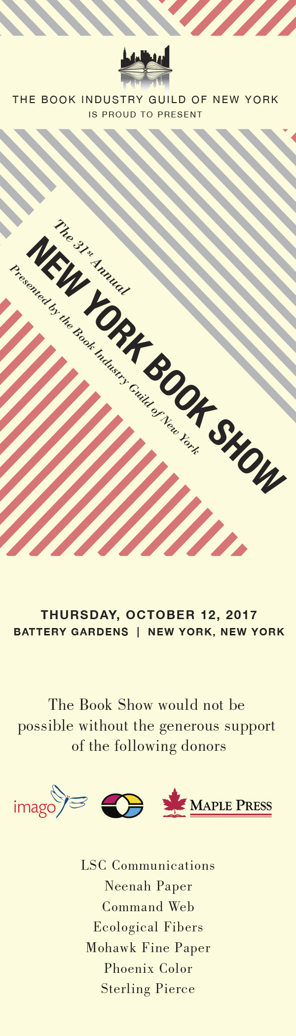 New York Book Show 2017 bookmark
