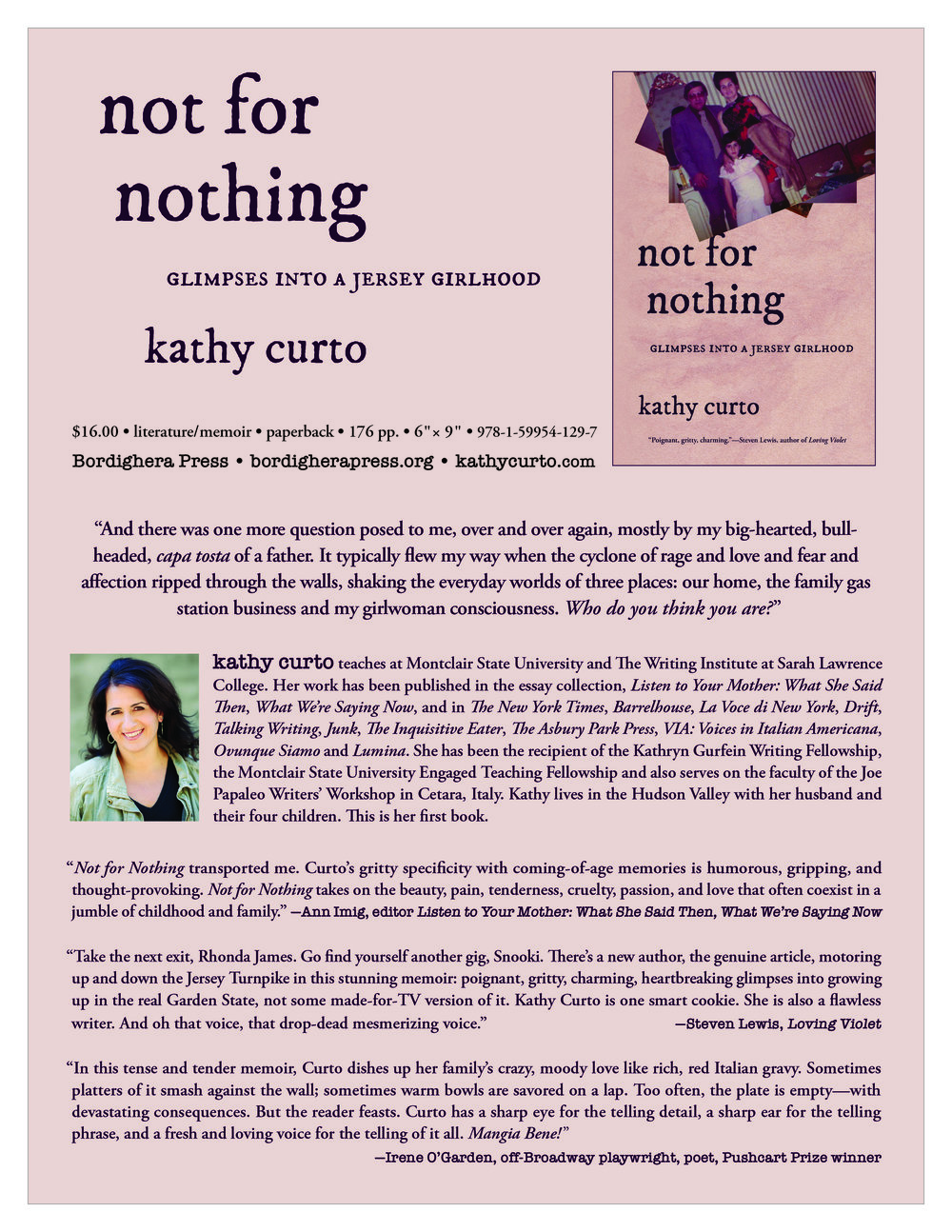 One Sheet for Kathy Curto's memoir, Not for Nothing