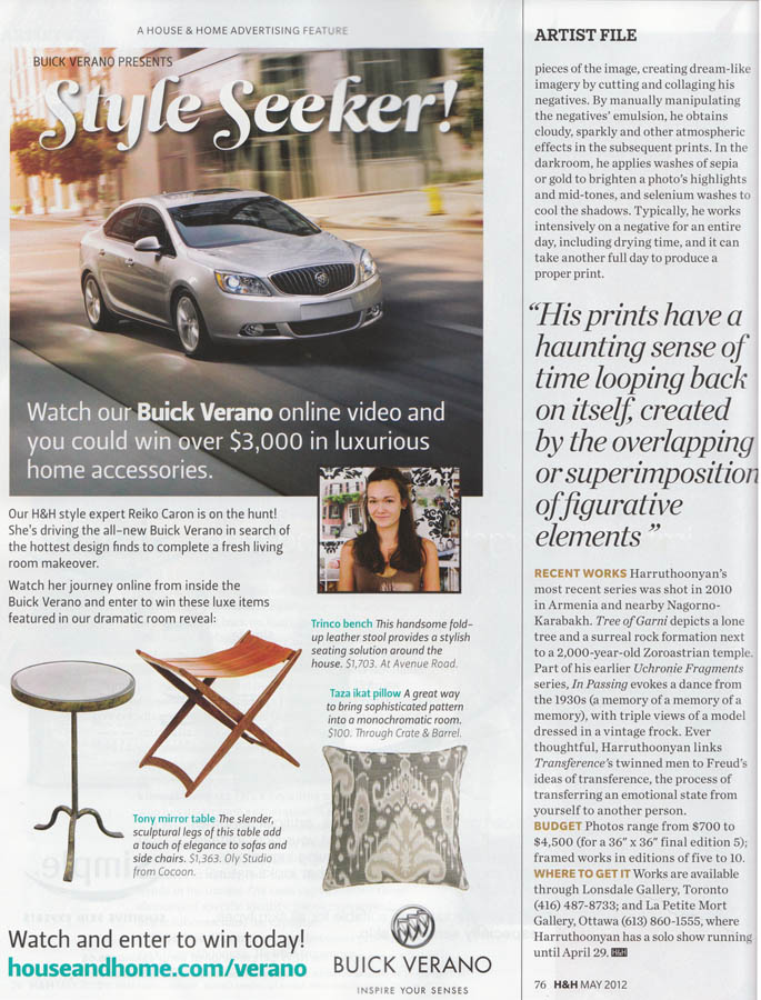 Canadian House & Home Magazine Artist Profile May 2012 Written by Betty Ann Jordan