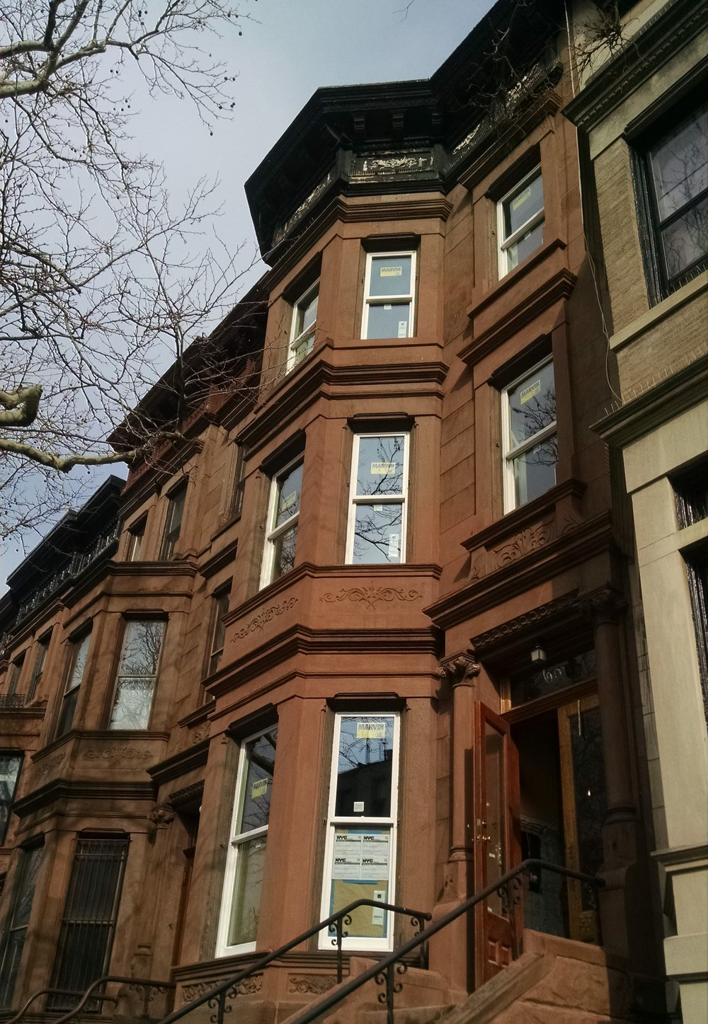 Replaced original windows with new Marvin double hung windows.