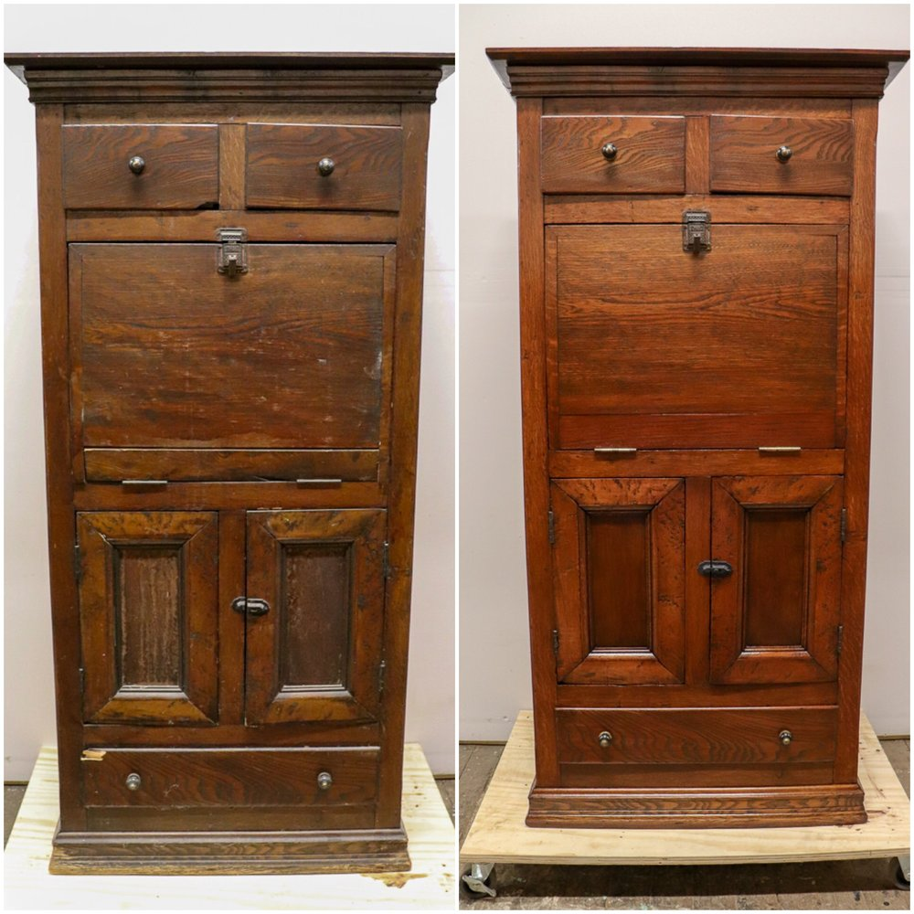 Nova Secratary - Restoration of this antique family heirloom from Nova Scotia. This project included repairs, a complete refinish and a few hidden gems. Read the full story here