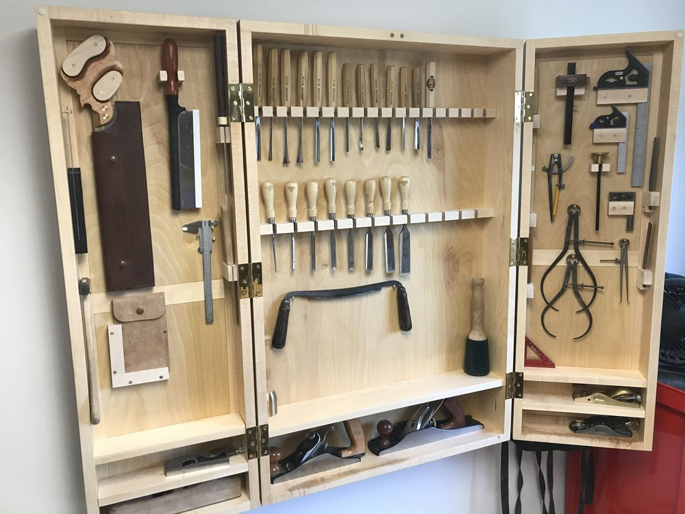 Tool Cabinet - Large hanging cabinet for my hand tools - Maple, box joint case construction, fame-and-panel doors.