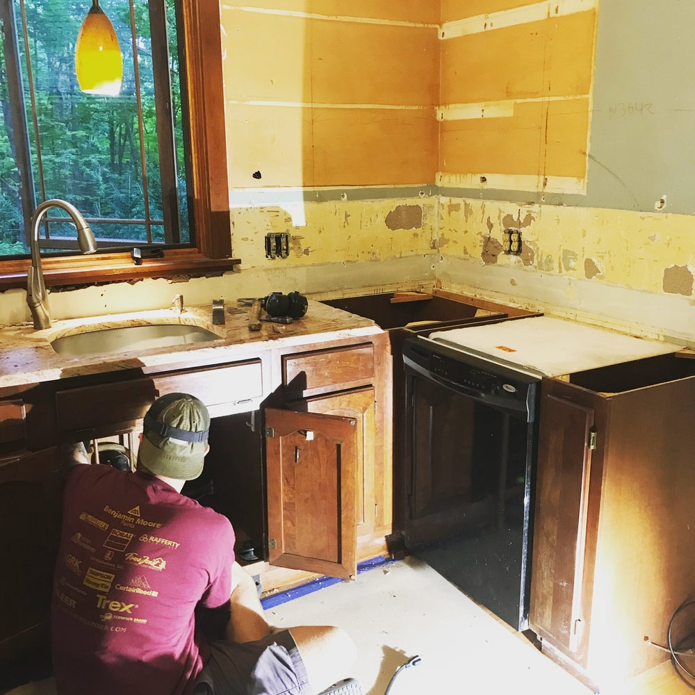 Kitchen Renovation - Griffin and I completely renovated our kitchen. New appliances, new cabinets, new tile, new electrical. Glad that's over.